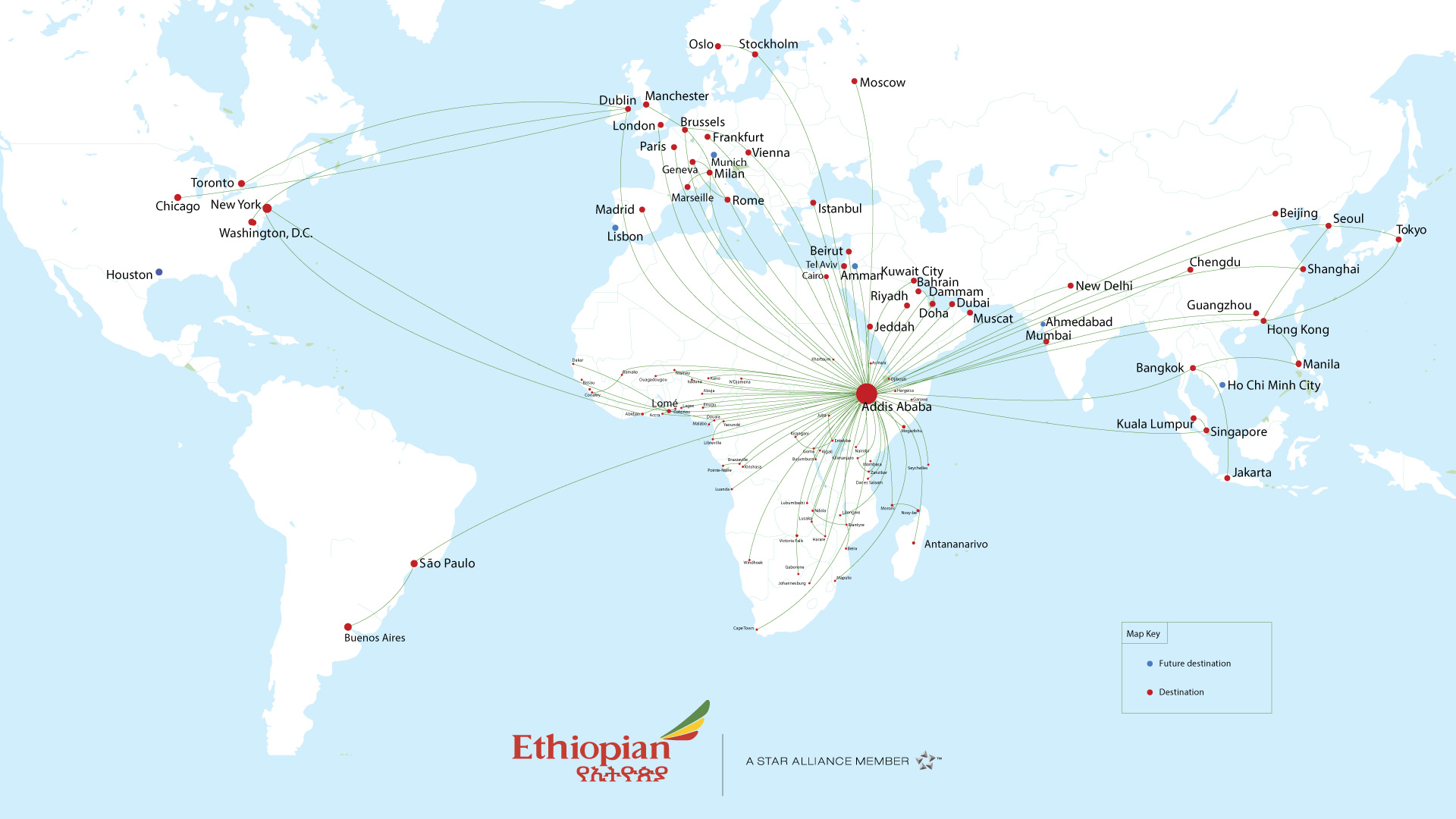international Route map from ethiopian destination